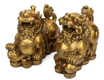 Chinese collection exquisite craft brass wealth God beast statue A pair