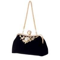 Female Velvet Diamond Pearl Handbag Vintage Velour Crystal Flower Design Evening Bag Wedding Party Bride Clutch