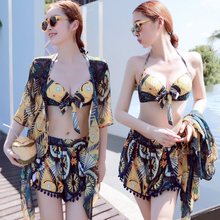 2019 two-piece suits bikinis Gather bra bandage blouse women swimwear low waist halter set 3/4 pieces