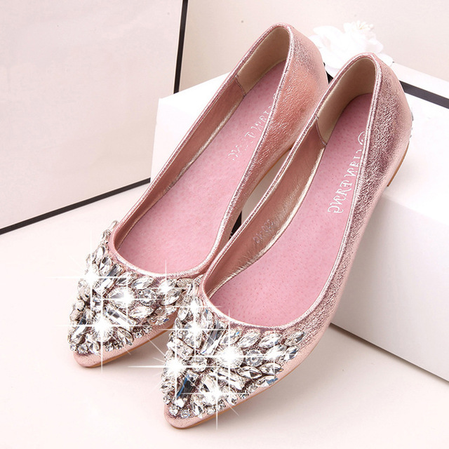 4bde7dace91c42 2019 Luxury Rhinestone Ballet Flat Shoes Women Spring Autumn Flowers  Pointed Toe Golden Shoes Loafers Size 40 3056