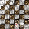 SA007 34 Square Glass Mosaic Strip Stainless Steel Mosaic Strip Mosaic For Kitchen