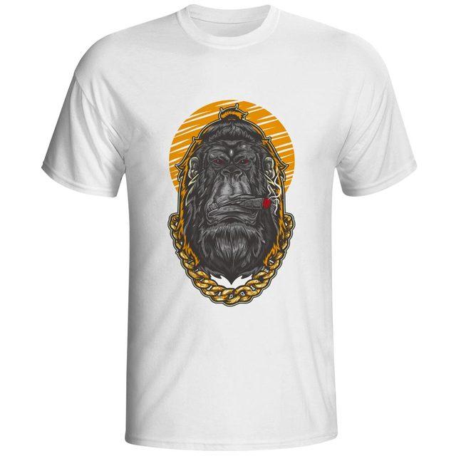 84e0b7b6 Smoking Gorilla Mafia T Shirt Monkey King Gangster Novelty Funny Hip Hop T- shirt Print Cool Casual Unisex Tee