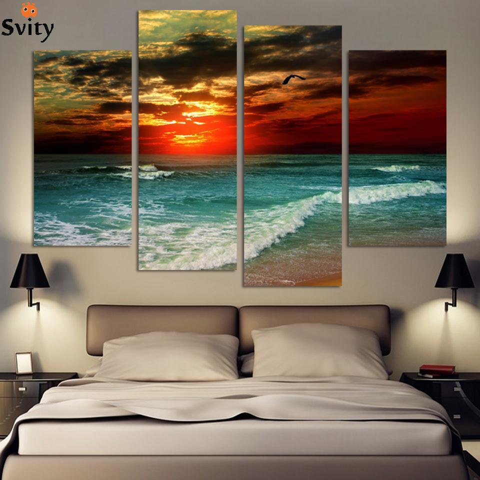 4 kusy doprava zdarma Hot Beach Seascape Moderní nástěnné malby domů Dekorativní umění Obrazová barva na plátně Obrazy