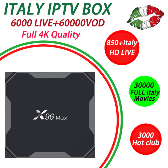 US $110 93 14% OFF|iptv italia subscription x96 max tv box android 8 1 32G  64G ROM+6000 super tv Albania UK USA Canada Adult iptv m3u set top box-in