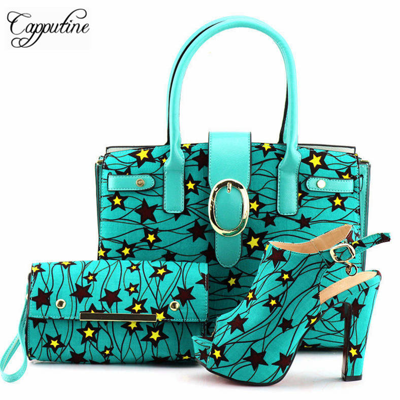 Cappufine Hot Selling Italian Women Wax Fabric Shoe And Bag To Match Set Fashion African Style High Heels Shoes And Bag Set fashion italy design italian matching shoe and bag set african wedding shoe and bag sets women shoe and bag to match tmm1 41