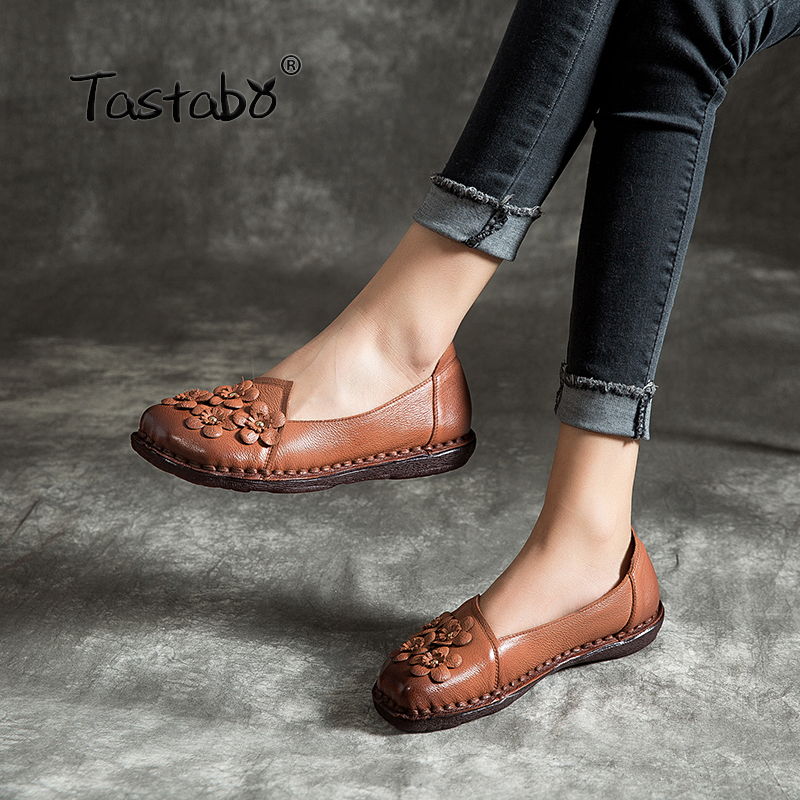 Tastabo Woman Flat shoes Comfortable Casual Shoes large size Wear resistant soft bottom Handmade shoes Leather