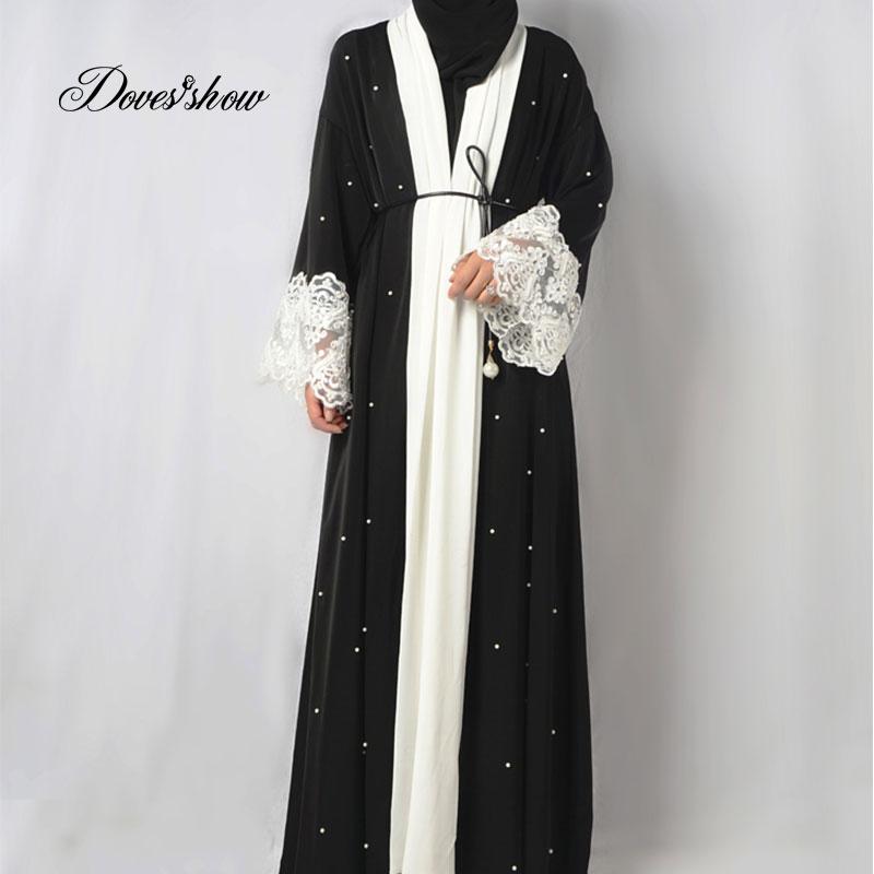 Fashion Muslim Dress Abaya in Dubai Nida with Pearl Islamic Clothing For Women Jilbab Djellaba Robe