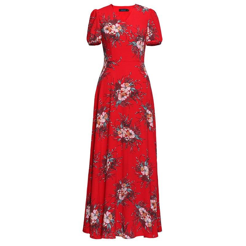 Fête d'été longue robe rouge imprimé Floral Boho plage robe tunique femmes soirée Club robe d'été Vestidos De Festa XXXL6808 - 4