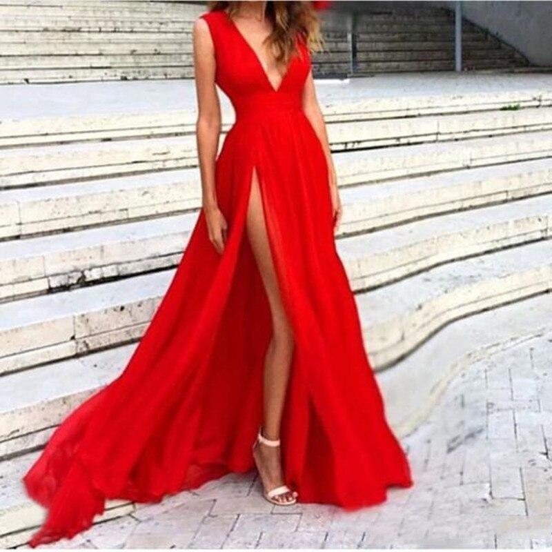 2017 Red Side Split Long Evening Dresses sexy Deep V Necklines sleeveless Sweep Train chiffon Transparent