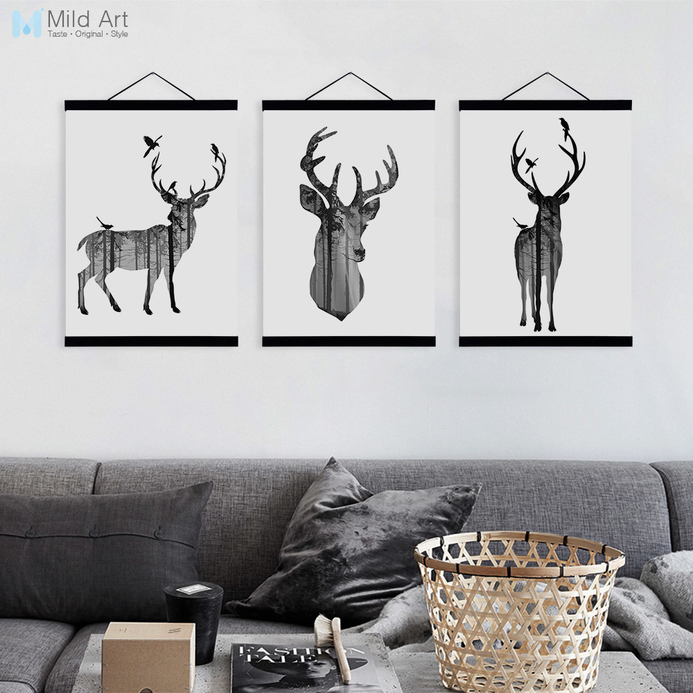 Us 8 74 47 Off Black White Modern Animal Silhouette Deer Elephant Wooden Framed Canvas Painting Home Decor Wall Art Print Picture Poster Hanger In