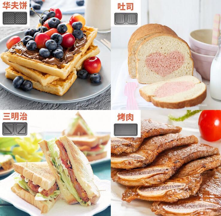 Máquina de sándwich ajustable con temperatura de 220 V, máquina de gofres eléctrica, utensilios de cocina, SW-93 - 3