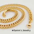 600*8 mm Fashion Simple Design Gold Plated Flat Curb Chain Necklace for Men Women accessories KN030