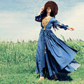 Бесплатная Доставка 2017 Denim Вышивка Нерегулярные Three Четверти Рукав Длинный Макси Старинные Богемные Платья Женщин Слоистых Spring Dress