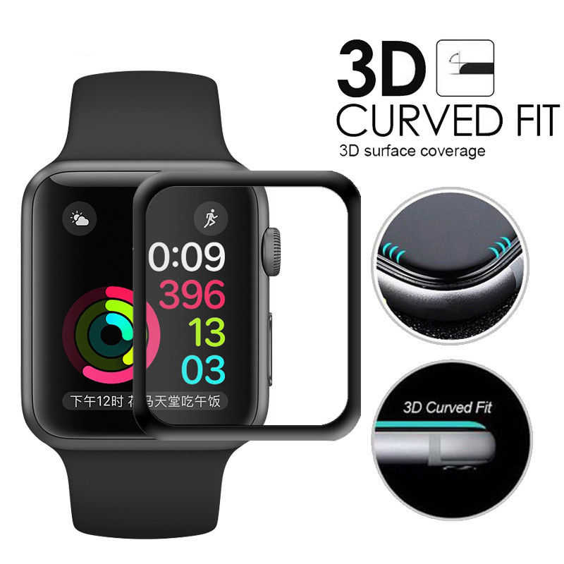 3D Curved Full Cover Tempered Glass For Apple Watch 4 3 2 1 Full Screen Protector Cover 40 44 38 42mm Film for For iPhone X XS
