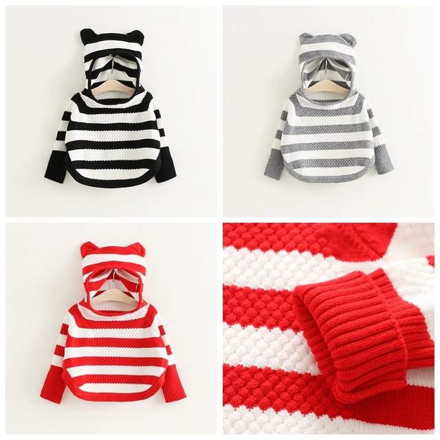 2016 Baby Girls Boys Jumper Autumn Winter Striped Sweater Children Kids Knitted Pullover Warm Outerwear Batwing Sleeve