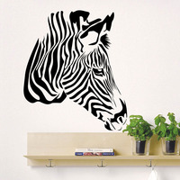 Home Interior Design Wall Stickers Head Of Zebra Wild Animals Vinyl Wall Decals Art Decor Living Room