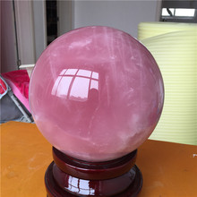 188mm Natural Pink Rose Quartz Magic Crystal Healing Ball Sphere with stand free shipping