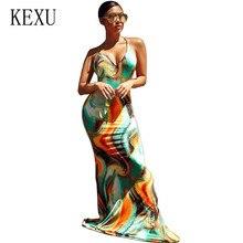 KEXU Plus Size XXL Summer Maxi Long Party Dress Women Halter Neck Vintage Sleeveless Backless Bodycon Sexy Beach Vestidos