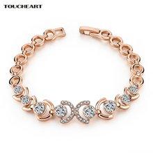 Женский винтажный браслет с кристаллами золотистого цвета