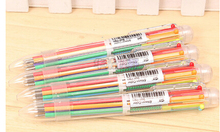 10pcs/lot  new hot sale creative 6 in 1 Colors Ballpoint Pen stationery easy multicolor pen press ballpoint