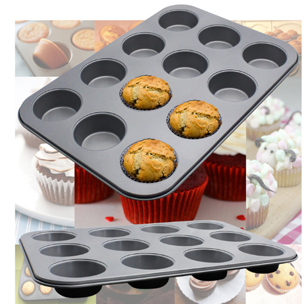 12 Cups Metal Baking Mold DIY Baking Dishes Cupcake Mold New Arrival Kitchen Bakeware Carbon Steel Baking Pan Nonstick Cake Pan