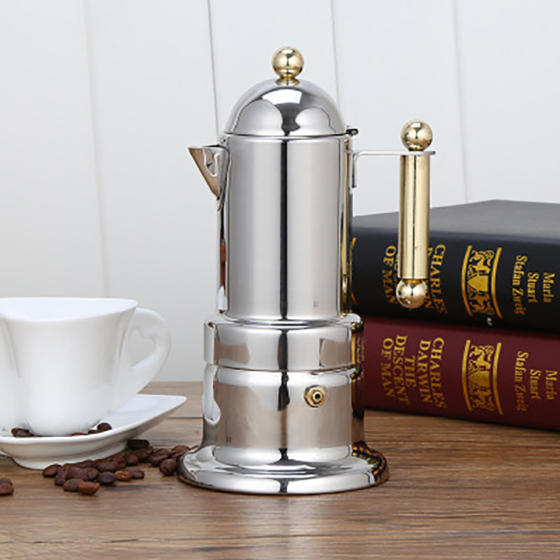 4 cup Coffee Maker Stainless Steel Coffee Pot Induction Cooker Heating Italian Moka Pot Household Hand Punch Pot Filter Cup title=