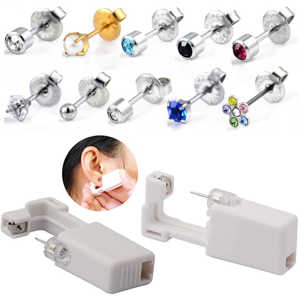 1PC Disposable Sterile Ear Piercing Unit Cartilage Tragus Helix Piercing Gun NO PAIN Piercer Tool Machine Kit Stud Choose Design