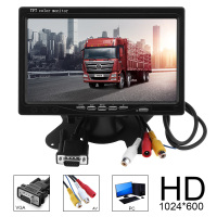 1024x600 7 Inch Ultra Thin TFT LCD HD Monitor Audio Video AV Car Home Monitor Bright Color with VGA Interface