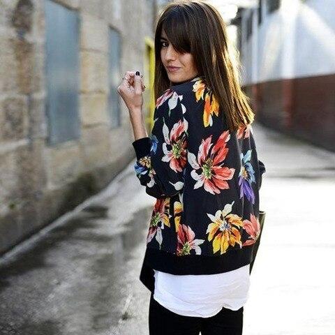 Clearance! SALE Women Jackets 2017 Autumn Winter New Fashion Ladies Floral Printed Patchwork Zipper Casual Jackets Outwear JK002 Karachi