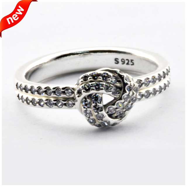 2016 Mother's Collection European Jewelry Sparkling Love Knot Silver Rings 100% 925 Sterling Silver Jewelry DIY Wholesale 08R087