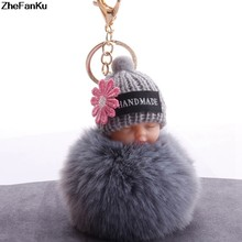 Sleeping Baby Doll Keychain Flower Pompom Rabbit Fur Ball Key Chain Fluffy Car Keyring(China)