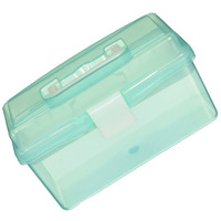 Clear Turquoise Plastic Tray 2 Compartment Tool Storage Box Case case case case box case storage box -
