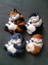 simulation 14*11CM lovely sleeping cat model toy polyethylene & furs prone kitty model ,car decoration gift t274