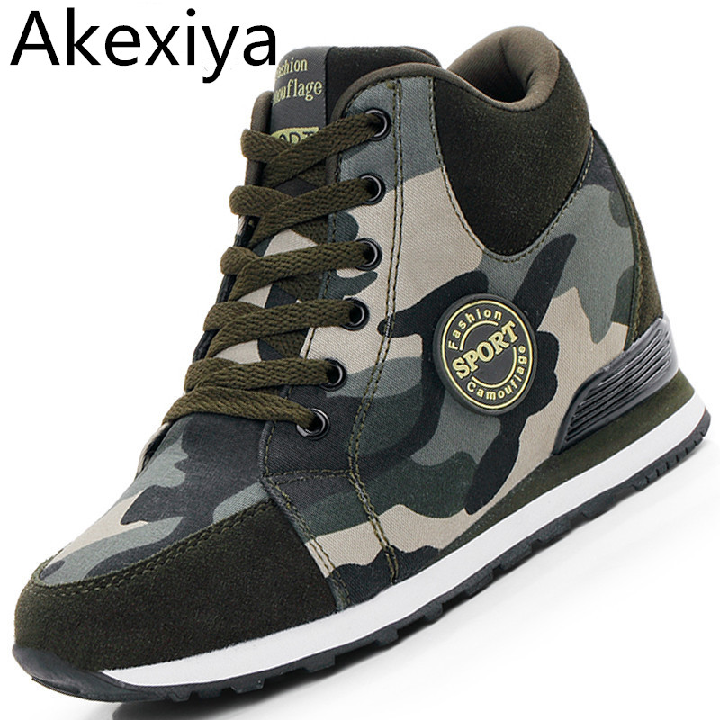Akexiya Female Casual Shoes 2017 Autumn Winter New Brand Fashion High-Top Camouflage Women Shoes Comfort Heighten Shoes