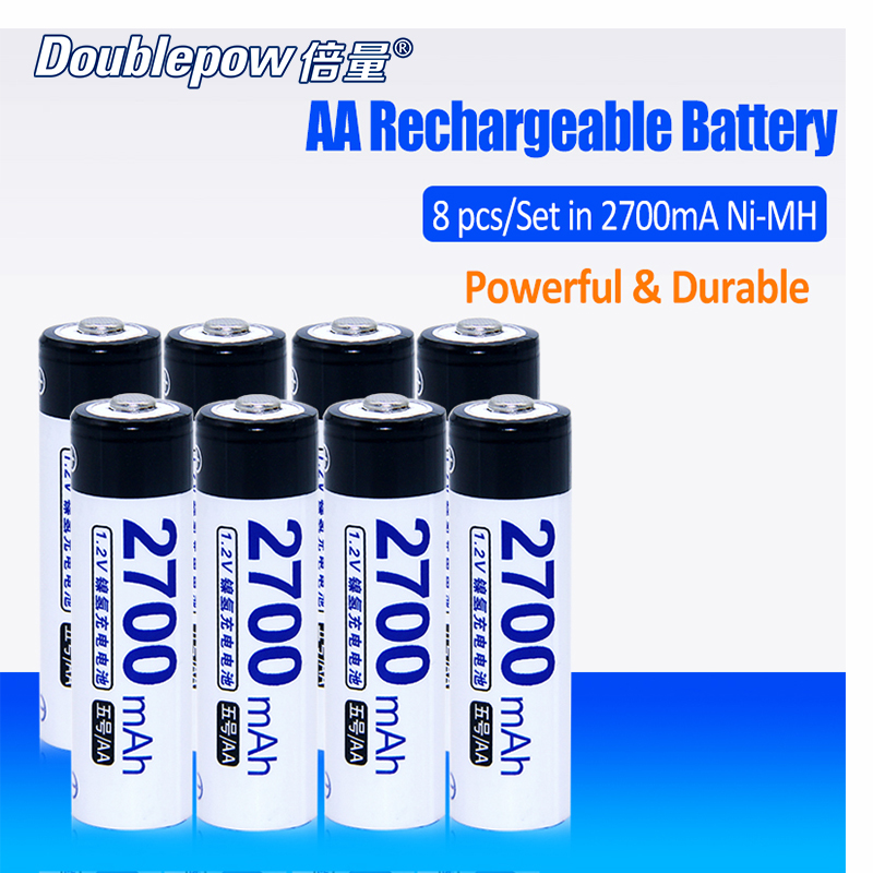 8pcs Lot Doublepow DP 2700mA 1 2V 2700mA Ni MH Rechargeable Battery in Actual High Capacity