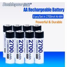 8 unids/lote Doublepow DP-2700mA 1.2 V Ni-MH Batería Recargable 2700mA en Real de Alta Capacidad de 2700mA Batería Celular ENVÍO GRATIS