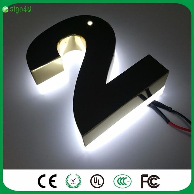 Custom Gold kleur spiegel rvs LED backlit huisnummer licht tekenen ...