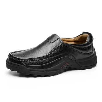 VANCAT Men\'s Genuine Leather Shoes Business Dress Moccasins Flats Slip On New Men\'s Casual Shoes Dress Mens Business Shoes 38-48