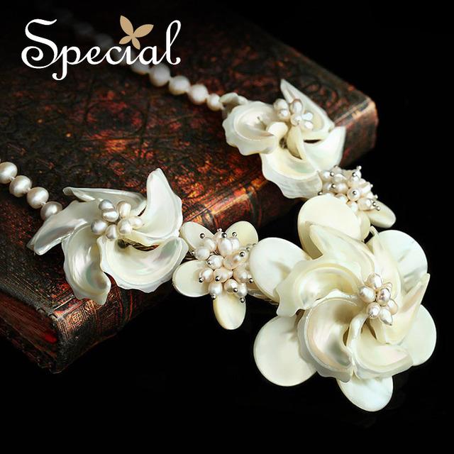Especial de moda de nova Maxi colar gargantilha Natural Sea Shell PearlsJewelry frete grátis presentes da flor para meninas mulheres XL150331