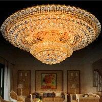 Living room crystal lamp round atmospheric chandeliers European Hall ceiling lamp led lamp remote luxury hotel headlights led