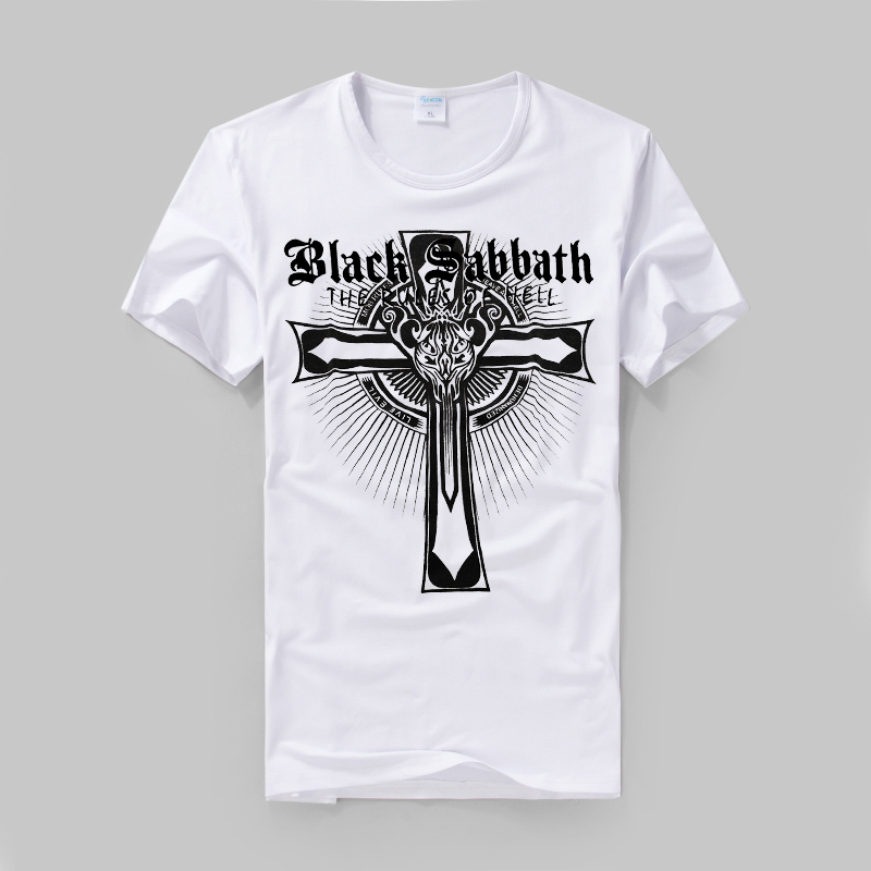 Black Sabbath the rules of hell Latin Cross logo printing high quality modal cotton tee british slim style