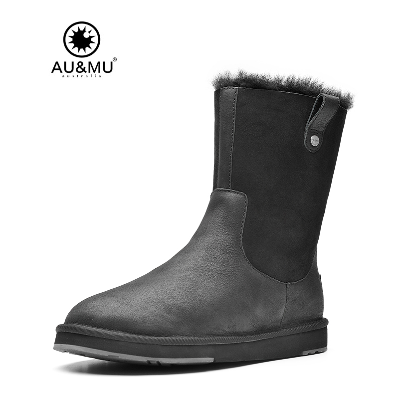 2017 AUMU Australia Stylish Sheepskin Leather Thick Platform Winter Coldweather Snow Boots UG N393 2018 aumu australia brand new leather
