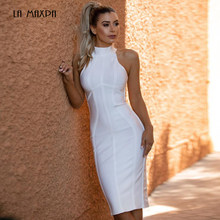 ee2551c80574 2018 new white high quality sleeveless hanging neck striped bandage rayon  dress tight dress celebrity party dress