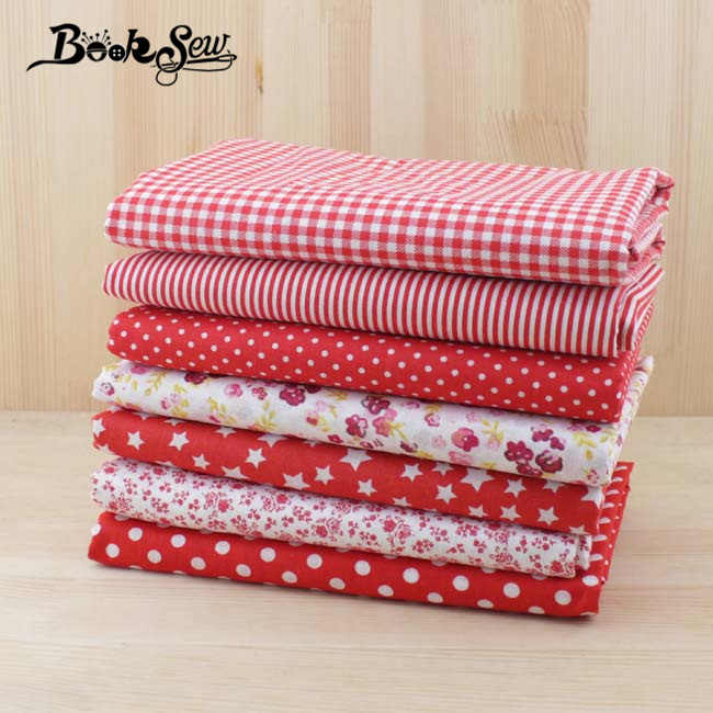Booksew100% Cotton Fabric 50cmx50cm 7pcs Red Doll Cloth Tilda for Sewing Patchwork  Quilting Tissue textiles cheap tecido