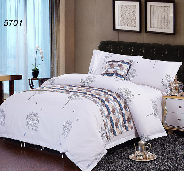 Trees Drawing White Bedding Set 4pcs Twin King Queen Bed Sets Comforter Blanket Cover