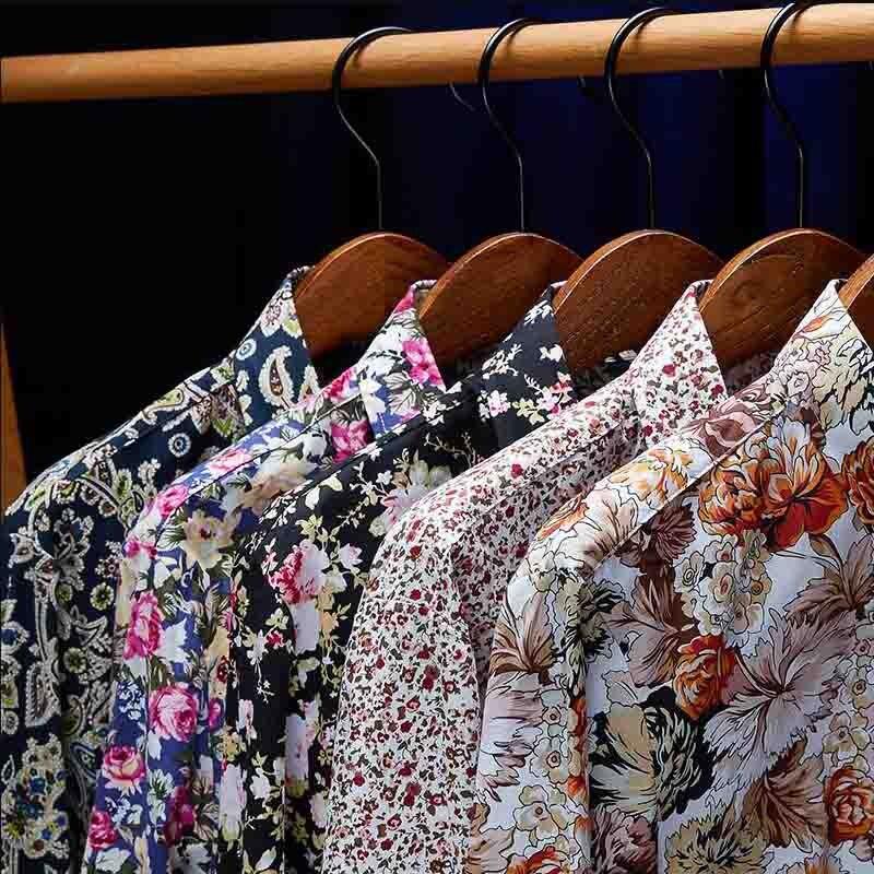 Vestido Ocasional Ajuste Camisas Retro Floral Impresso