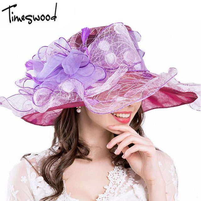 8f6aa36a288873 [TIMESWOOD] Royal Purple Floppy Hat Women's Sun Hats Ladies Large Womens  Fashion Wide Brim Summer Breathable Organza Caps