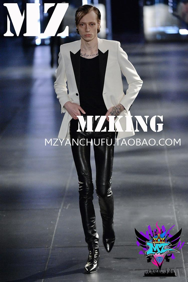 Quan zhi long same GD black white spliced jacket personality menswear performance dress nightclub male singer stage wedding suit