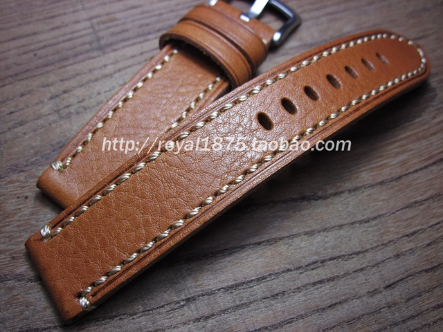 e568aee63 1PCS 18mm 19mm 20mm pure Genuine Leather Watch band Man Yellow brown Watch  Straps High-