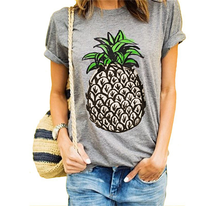 Women Cotton Short Sleeve O-neck Vogue Fitness Pineapple Printed T-shirts